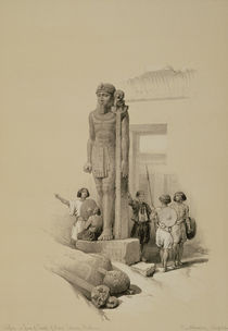 Colossus in front of the Temple of Wady Sabona von David Roberts