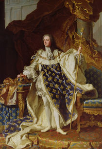 Portrait of Louis XV in his Coronation Robes von Hyacinthe Francois Rigaud
