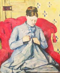 Madame Cezanne sewing by Paul Cezanne