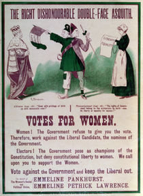 "Women's Suffrage Poster ""The Right Dishonourable Double-Face Asquith"" von English School"