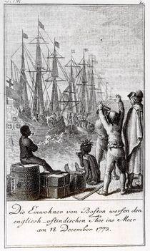 The Inhabitants of Boston Throw English-East Indian Tea in the Sea by German School