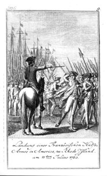 The Landing of a French Auxiliary Army at Rhode Island in America by German School