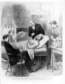 President Garfield Lying Wounded in his Room at the White House by American School
