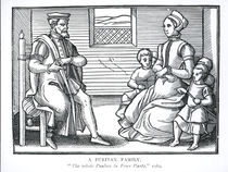 A Puritan Family, from 'The Whole Psalms in Four Parts' by English School