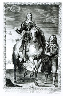 Equestrian portrait of Oliver Cromwell engraved by Pierre Lombart von Anthony van Dyck