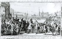 King Louis XIV Receives James II at Saint-Germain en-Laye by German School