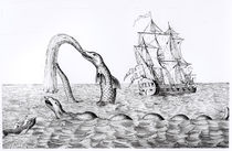 The Sea Serpent, facsimile of an engraving of Pontoppidan's by English School
