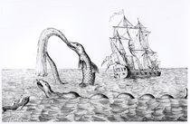 The Sea Serpent, facsimile of an engraving of Pontoppidan's von English School
