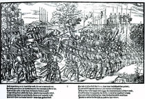 Sidney and the English army on the march with standards and trumpets von John Derricke