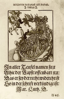 Pope Enthroned into the Mouth of Hell by German School