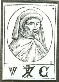 Portrait of William Caxton and his Printer's Mark von English School