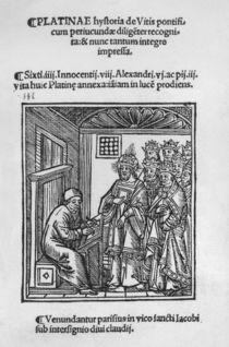 Bartolommeo de' Sacchi writing 'Historia de Vitis Pontificum Romanorum' von Italian School