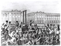 Execution in Revolution Square during the French Revolution by French School