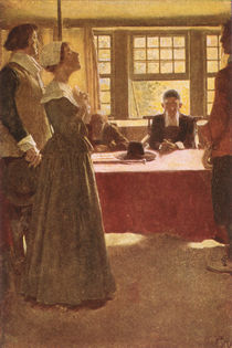 Mary Dyer Brought Before Governor Endicott von Howard Pyle