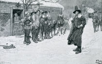 The Puritan Governor Interrupting the Christmas Sports by Howard Pyle