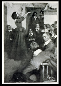 Anne Hutchinson Preaching in her House in Boston von Howard Pyle