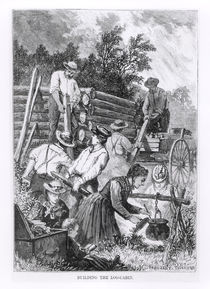 Building the Log-Cabin, engraved by Charles Maurand by American School
