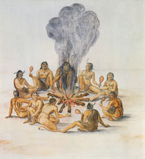 Indians round a Fire by John White