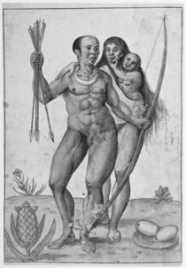 Brazilian Indian Man, Woman and Child by John White
