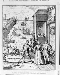 Parting of Columbus with Ferdinand and Isabella von Theodore de Bry