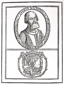 Portrait of Hernado Cortes and his arms by English School