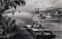 Bound Down the River, pub. by Currier and Ives by American School