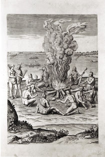 Indians praying around a fire by John White