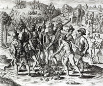 Spaniards receiving gifts from Indians by Jacques Le Moyne