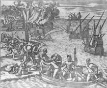 The French Fleet Plundering and Setting Fire to the Town of Chioreram von German School