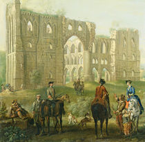 Riders Pausing by the Ruins of Rievaulx Abbey von John Wootton
