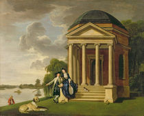 David Garrick and his Wife by his Temple to Shakespeare at Hampton von Johann Zoffany