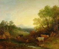 A Landscape with Cattle and Figures by a Stream and a Distant Bridge von Thomas Gainsborough