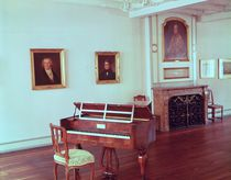 View of a room with a grand piano belonging to Ludwig van Beethoven von German School
