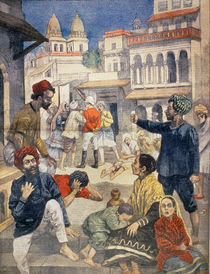 Famine in India, illustration from 'Le Petit Journal' by Jose Belon