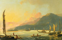 Tahitian War Galleys in Matavai Bay by William Hodges