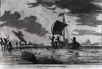 Arrival of the English at Roanoke by American School