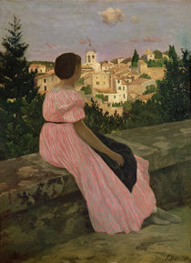 The Pink Dress, or View of Castelnau-le-Lez by Jean Frederic Bazille