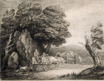 Wooded Landscape with Carts and Figures by Thomas Gainsborough