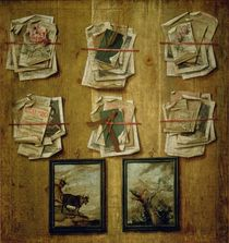 Still Life with Book Sheets and Pictures von Russian School
