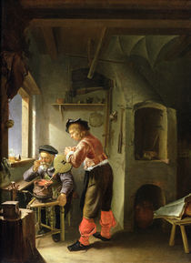An Alchemist and his Assistant in their Workshop by Frans van Mieris