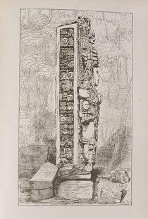 Representation of Mayan Hieroglyphics on a Stele by English School
