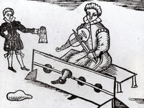 A Purse Snatcher in the Stocks by English School