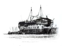 Prison Ship in Portsmouth Harbour: Convicts Going on Board von Edward William Cooke