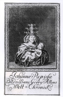 Pope Joan with her child by German School