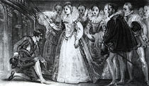 Queen Elizabeth I Knighting Francis Drake in 1581 von English School