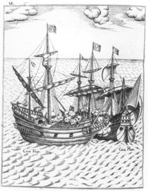 A Spanish Treasure Ship Plundered by Francis Drake in the Pacific von Dutch School