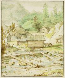Nordic Landscape with Wooden Hut and Weir by Allart van Everdingen