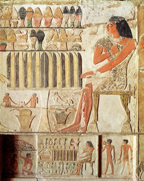 The deceased in front of a table of food by Egyptian 5th Dynasty
