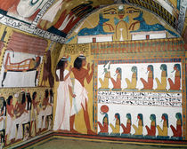 Sennedjem and his wife facing a naos containing twelve divinities by Egyptian 19th Dynasty