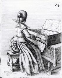 Woman Playing at a Keyboard by Wenceslaus Hollar